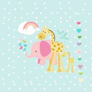 rainbow space hearts pink elephant friends on seaglass polka - XL19