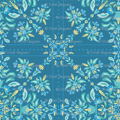Blue Tile Folk Art Pattern