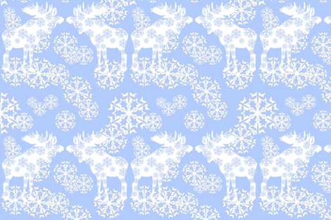scandinvian moose & snowflakes fabric by lisakling on Spoonflower - custom fabric