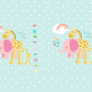 YARD 54 2 on 1 rainbow hearts  pink elephant seaglass