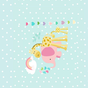 rainbow hearts spaced  pink elephant HORIZONTAL - seafoam polka