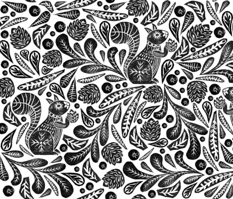 Squirrel in Leaves fabric by beckylong10 on Spoonflower - custom fabric