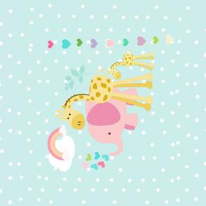 YARD 42 rainbow hearts pink elephant polka seaglass - wholecloth
