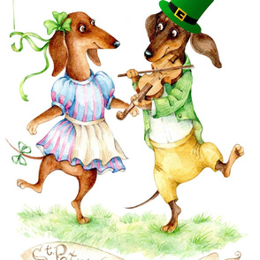 Dachshunds St Patrics day Pannel Dog clover