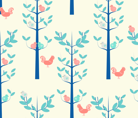 Scandi Birds and trees fabric by kurull on Spoonflower - custom fabric