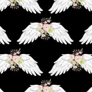 "4"" Pink Floral Wings Black"