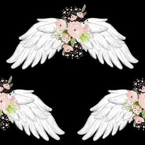 "8"" Pink Floral Wings Black"
