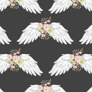 "4"" Pink Floral Wings Grey"