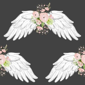 "8"" Pink Floral Wings Grey"