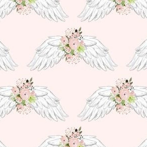 "4"" Pink Floral Wings Pink Background"