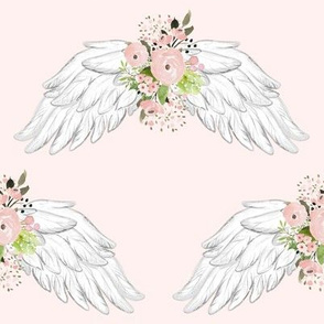"8"" Pink Floral Wings Pink Background"