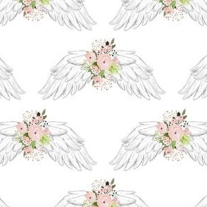 "4"" Pink Floral Wings White"