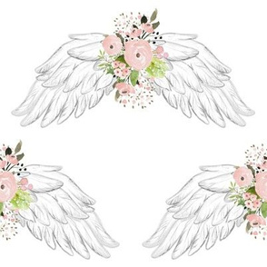 "8"" Pink Floral Wings White"