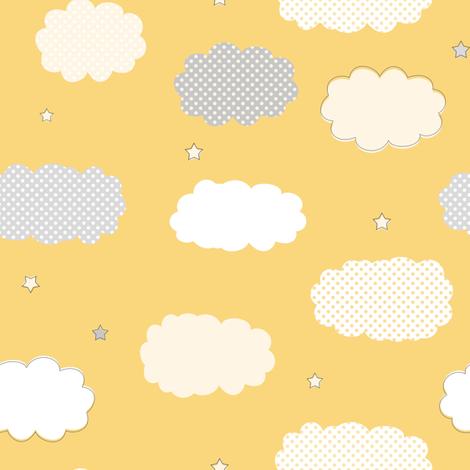 Sweet Dreams Clouds Yellow fabric by jannasalak on Spoonflower - custom fabric