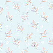 Pastel color textured leaves-baby blue