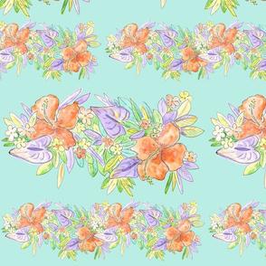 hawaiian watercolor flowers  aqua
