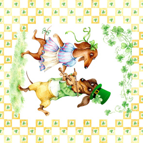 st Patrick day  panel doxie wiener dog