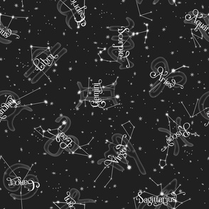 Zodiac Constellations Grey White