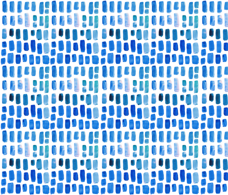 true blue watercolor mosaic // small  fabric by ivieclothco on Spoonflower - custom fabric