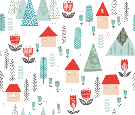 Scandinavian Mountain Village fabric by ldpapers on Spoonflower - custom fabric