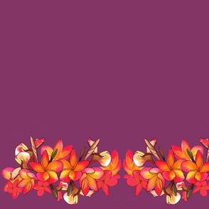 Coloured Frangipani Purple Bkgd Mirror Large