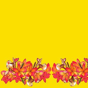 Coloured Frangipani Yellow Bkgd Mirror Large