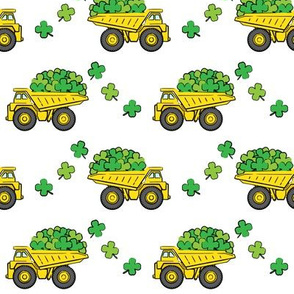 Loads of Luck - White - St Patricks Day Shamrock Construction Trucks