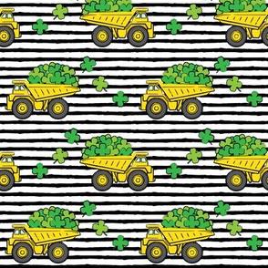 Loads of Luck - Black Stripes - St Patricks Day Shamrock Construction Trucks