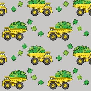 Loads of Luck - Grey - St Patricks Day Shamrock Construction Trucks