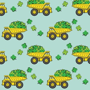Loads of Luck - Dark Mint - St Patricks Day Shamrock Construction Trucks