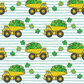 Loads of Luck - Dark Mint Stripes - St Patricks Day Shamrock Construction Trucks