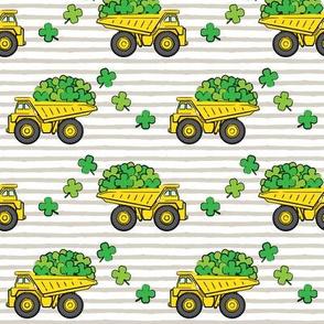 Loads of Luck - Beige Stripes - St Patricks Day Shamrock Construction Trucks