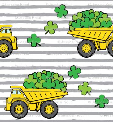 Loads of Luck - Grey Stripes - St Patricks Day Shamrock Construction Trucks