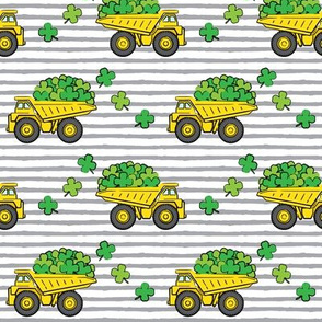 Loads of Luck - Grey Stripes - St Patricks Day Shamrock Construction Trucks