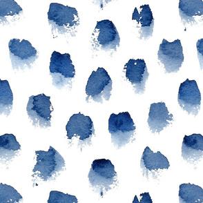 Watercolor Spots in Indigo Large Scale