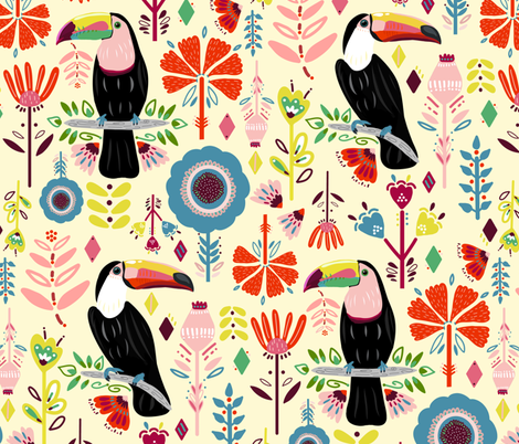 Colorful Scandinavian Toucans On Cream (Large version) fabric by tigatiga on Spoonflower - custom fabric