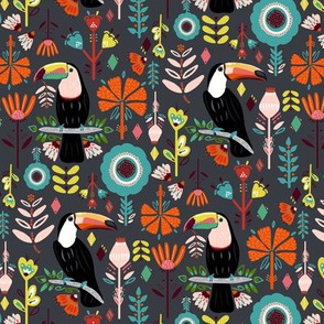 Colorful Scandinavian Toucans On Grey (Small version)