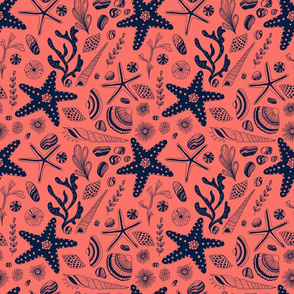 Sea shells  living coral background