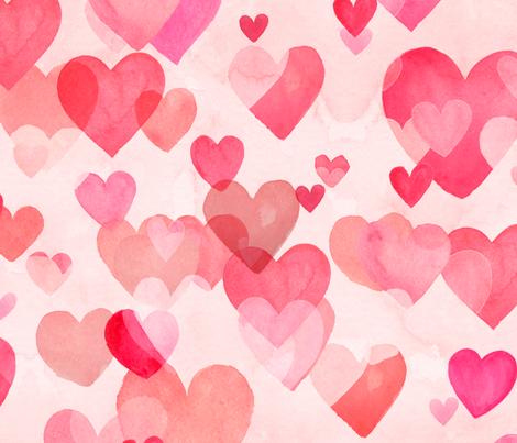 Watercolor Hearts fabric by kimsa on Spoonflower - custom fabric