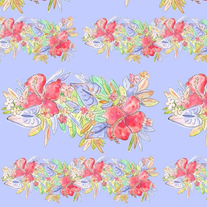 hawaiian watercolor flowers periwinkle
