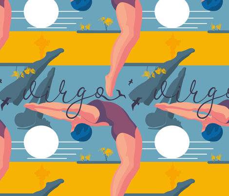Bathing virgo fabric by friedlosundstreitsuechtig on Spoonflower - custom fabric