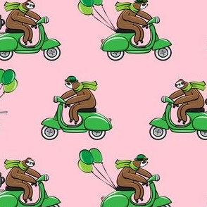 Scooter Sloths  - St Patrick's Day - Pink Stripes