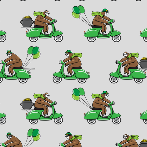 Scooter Sloths  - St Patrick's Day - Grey fabric by littlearrowdesign on Spoonflower - custom fabric
