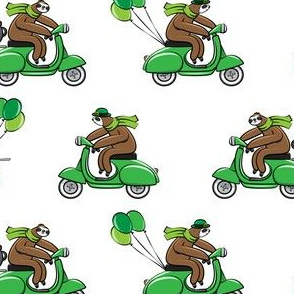 Scooter Sloths  - St Patrick's Day - White
