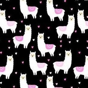 valentines llama pattern fabric - cute valentines fabric, llama fabric, valentines design, cute valentines day fabric - black