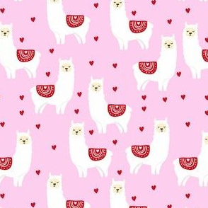 valentines llama pattern fabric - cute valentines fabric, llama fabric, valentines design, cute valentines day fabric - pink and red