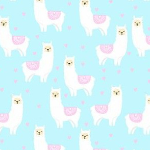 valentines llama pattern fabric - cute valentines fabric, llama fabric, valentines design, cute valentines day fabric - blue