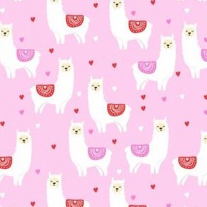 valentines llama pattern fabric - cute valentines fabric, llama fabric, valentines design, cute valentines day fabric - pink
