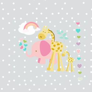 rainbow space hearts pink elephant friends on lightest gray polka XL19