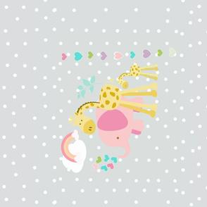 rainbow hearts spaced  pink elephant HORIZONTAL - lightest gray  polka